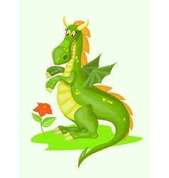 Cartoon green dragon vector image vector image