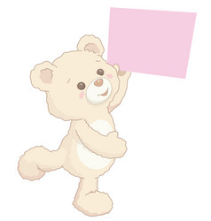 cute little teddy bear holding blank banner board vector image