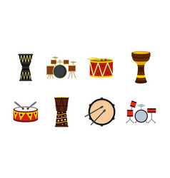 Drums icon set flat style vector