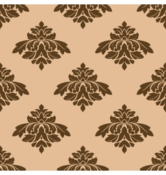 Floral seamless pattern with brown on beige vector image vector image