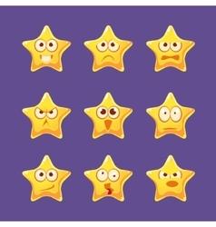Golden Star Emoji Character Set vector image vector image