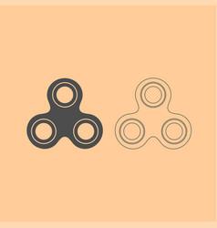 hand spinner dark grey set icon vector image
