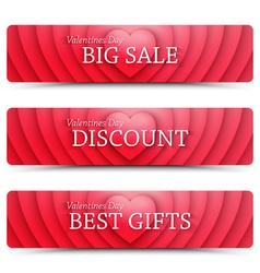 Happy valentines day web banners vector