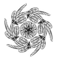 Monochrome circular pattern Round kaleidoscope vector image