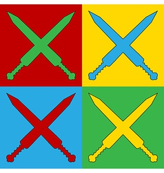 Pop art crossed gladius swords icons vector