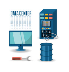 Set icon computer wrench database and data center vector