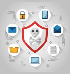 Shield skull and bones technology virus danger vector