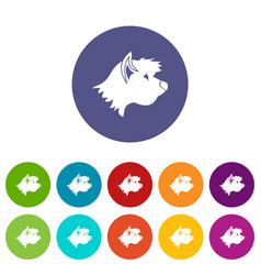 Terrier dog set icons vector