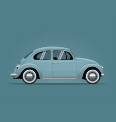 The vintage blue car vector