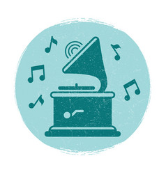 vintage gramophone music notes emblem vector image