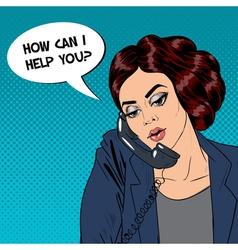 Woman talking on the phone pop art vector