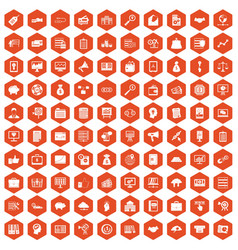 100 business process icons hexagon orange vector