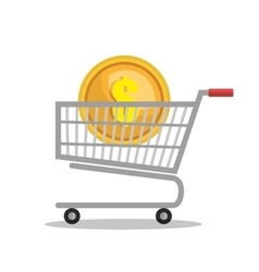 Cart money currency isolated vector