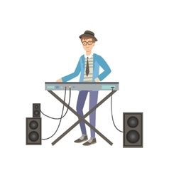 Guy playing electric piano creative person vector