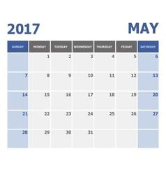 2017 may calendar week starts on sunday vector