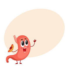 Cute and funny smiling stomach character holding vector