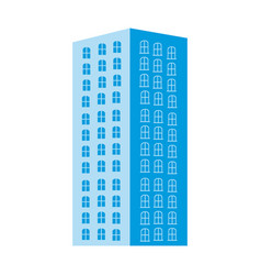 silhouette blue color with tower apartment vector image