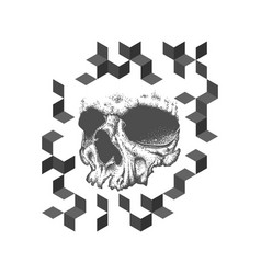 Abstract dotwork grunge skull tattoo design vector