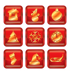 New year xmas icon set vector