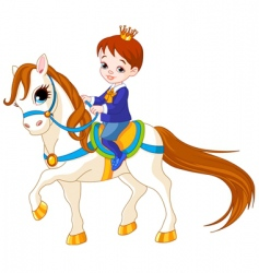 Cartoon prince on horse vector