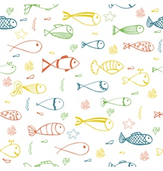 Cute seamless pattern with fishes starfish and vector