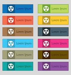 Radiation icon sign set of twelve rectangular vector