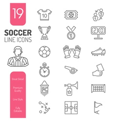 Soccer thin lines web icon set vector
