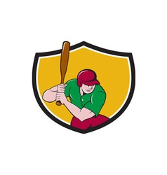 Baseball player batting shield cartoon vector