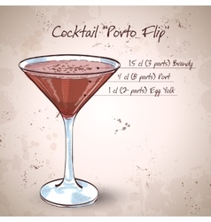 Porto flip cocktail vector