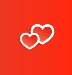 Two red heart happy valentines day vector