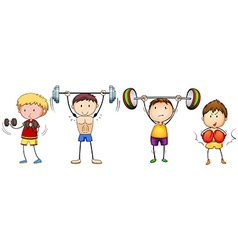 Many people doing weightlifting vector