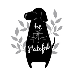 Be grateful brush hand lettering vector