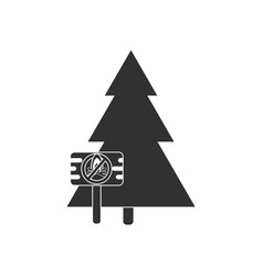 Black icon on white background fir-tree with vector