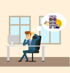 Businessman working in office on computer vector