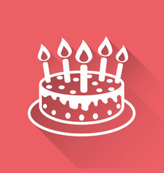 Cake with candle icon simple flat pictogram for vector