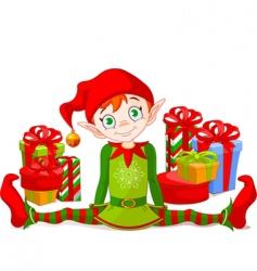 Christmas elf with gifts vector image vector image