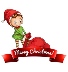 Christmas logo with elf vector image vector image