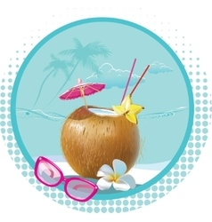 Cocktail on beach vector