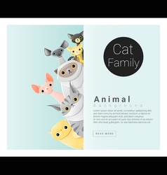 Cute animal family background with cats 2 vector