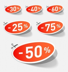 discount percent with cut line vector image