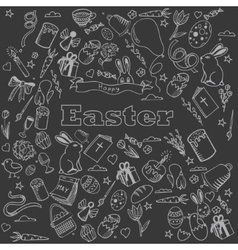 Easter chalk design line art vector