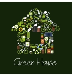 Eco green house symbol with ecological icons vector image vector image