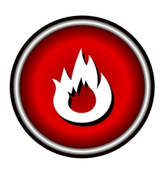 Flat Bonfire icon on red circle vector image vector image