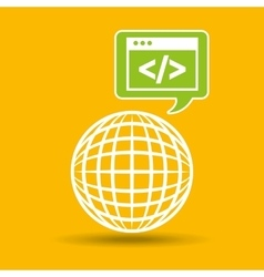 globe development technology code icon vector image