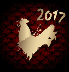 Golden chinese new year rooster for 2017 vector