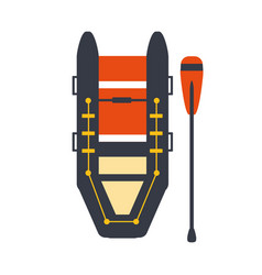 Grey and red inflatable raft with one peddle part vector