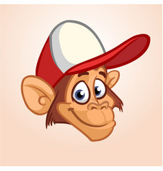 Happy monkey head cartoon vector