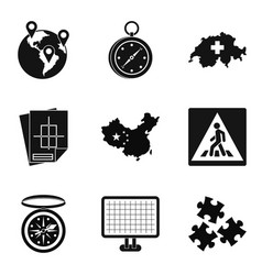 Itinerary icons set simple style vector