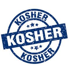Kosher blue round grunge stamp vector