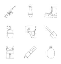 Military and army set icons in outline style Big vector image
